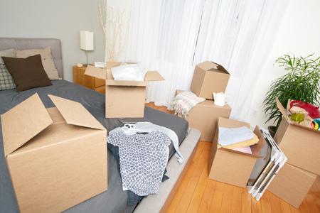 새 집에 상자를 이동. 부동산 개념. 스톡 콘텐츠 - 45791803