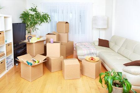 새 아파트에 상자를 이동. 부동산 개념.