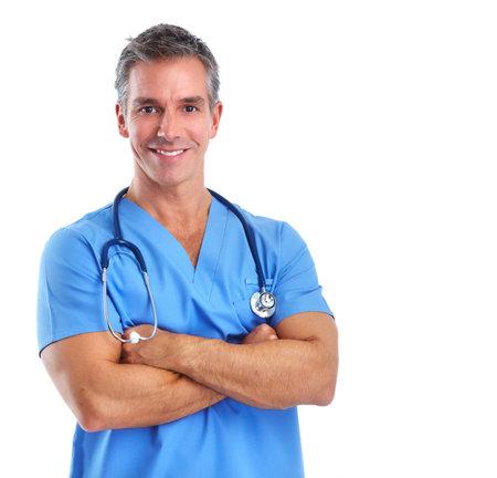 白い背景に分離された若い医師男。 写真素材