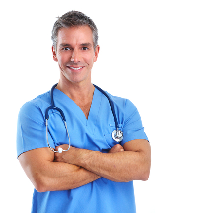 Young medical doctor man isolated over white background. Stock Photo