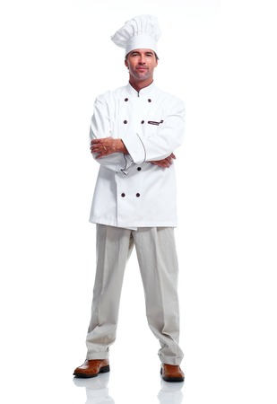 Young professional Chef man isolated over white background.