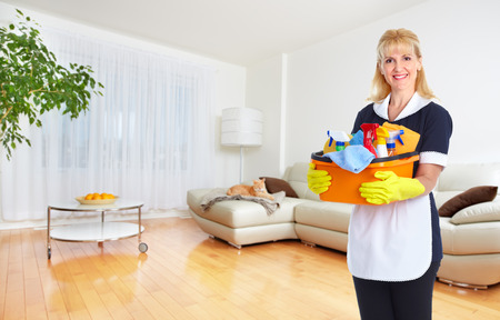 Maid woman with tools. House cleaning service concept. Foto de archivo