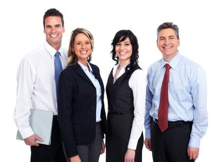 Grupo de jóvenes empresarios sonriente aislado fondo blanco. Foto de archivo - 46285777