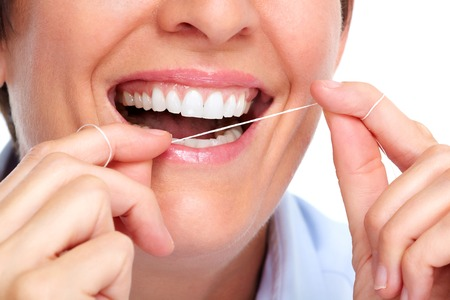 Dientes blancos Mujer hermosa. Cuidado de la salud dental. Foto de archivo - 46286110