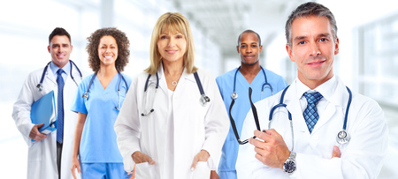 Group of medical doctors over hospital background. Health care. Stock Photo - 46411269