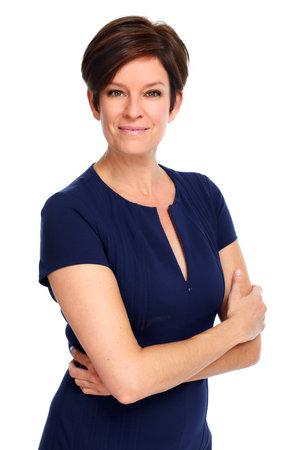 Mooie zakelijke vrouw met kort kapsel geïsoleerde witte achtergrond Stockfoto