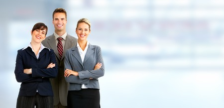 Group of business people. Businessman over blue office background.