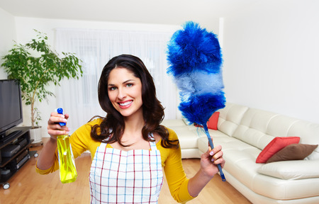 Maid woman with tools. House cleaning service concept. Standard-Bild