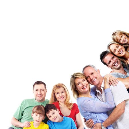 Feliz sonriente retrato de familia aislada en el fondo blanco. Foto de archivo - 46515575