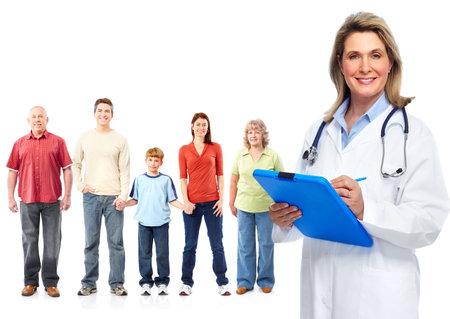 Médecin et les patients de la famille médicale. Fond blanc isolé. Banque d'images - 46515473