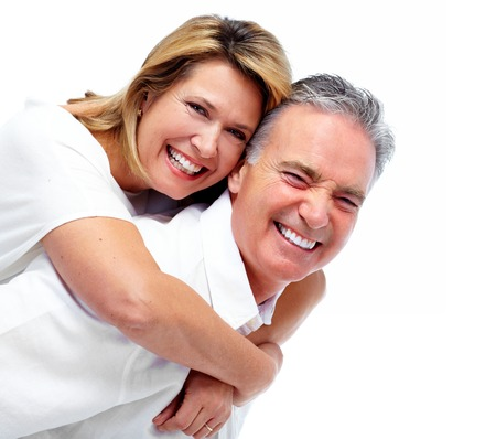 Happy laughing elderly couple isolated white background. 免版税图像 - 46515627