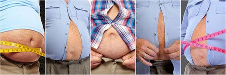 Dikke man buik. Obesitas en gewichtsverlies concept.