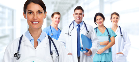 Group of hospital doctors. Health care banner background.