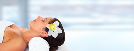 Beautiful woman having massage. Relaxation and health background. Stock Photo