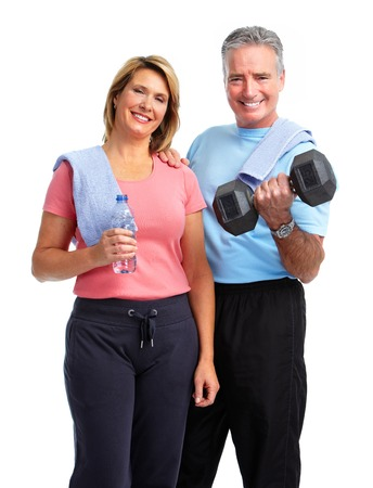 Healthy fitness elderly couple. Sport and exercise concept.
