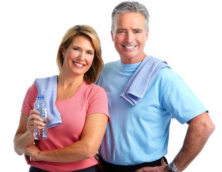 Sano fitness coppia di anziani. Sport e concetto di esercizio. Archivio Fotografico