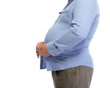 Hombre mayor con la grasa del estómago. Pierde el concepto de peso. Foto de archivo - 46627727