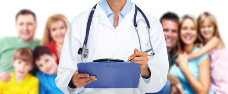 Hands of family Doctor woman. Health care banner background.
