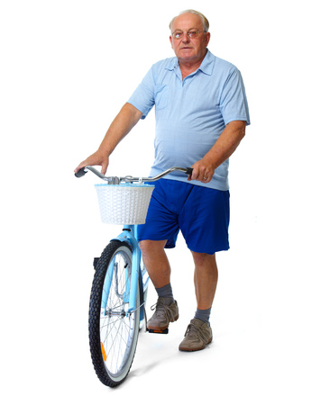 Elderly man with bicycle. Health and sport concept. Imagens - 46630140
