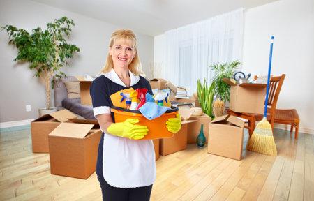 Femme de ménage avec des outils. Nettoyage de la maison de la notion de service. Banque d'images - 46778350