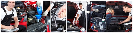 Car repair service. Mechanic working in garage.