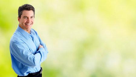 緑のバナー背景にハンサムな実業家の肖像画。 写真素材 - 47117547