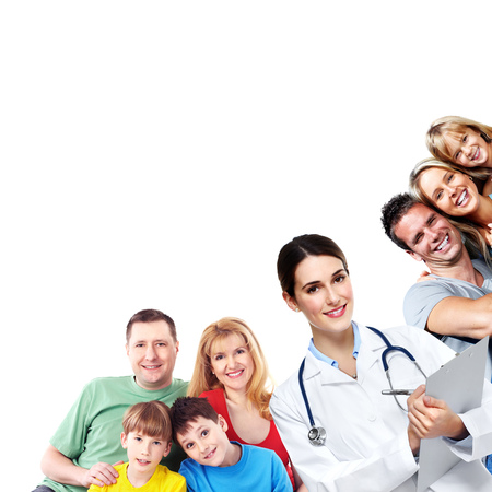 Medical doctor and happy family isolated on white background.