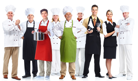 Group of professional chefs isolated on white background.