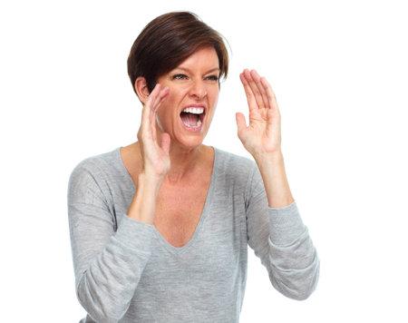 幸せな叫び女。感情と表現の概念 写真素材