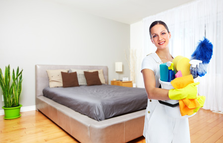 Maid woman with tools. House cleaning service concept. Imagens