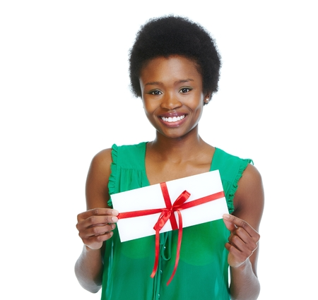 Young african-american woman with envelope isolated white background.