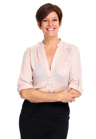 Mooie rijpe zakenvrouw geïsoleerd op een witte achtergrond.