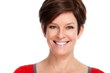 Beautiful mature smiling lady face isolated white background. 版權商用圖片