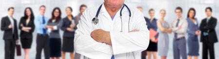 Hands of medical doctor man. Health care background. Imagens