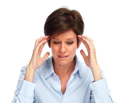 Femme d'affaires Fatigué avec une migraine isolé blanc. Banque d'images - 47489910