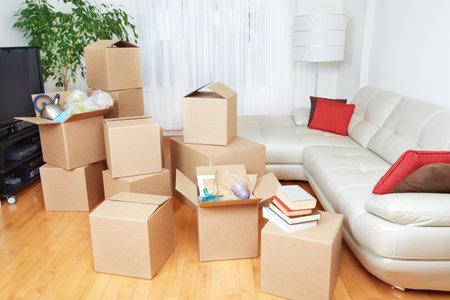 새 집에 상자를 이동. 부동산 개념. 스톡 콘텐츠 - 47489995