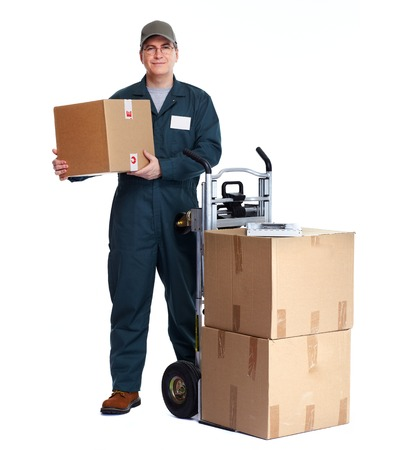 Delivery man with boxes. Express post shipping. Imagens