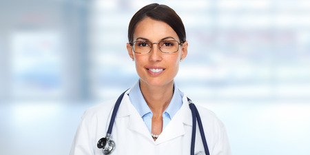 Beautiful Doctor woman. Health care banner background. Banque d'images