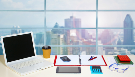 Table with office objects. Accounting and financial concept. Stock fotó