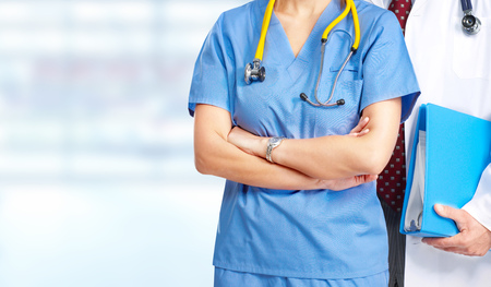Hands of medical doctor woman. Health care banner.