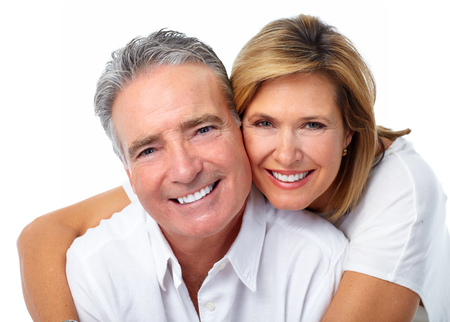 Happy laughing elderly couple isolated white background.