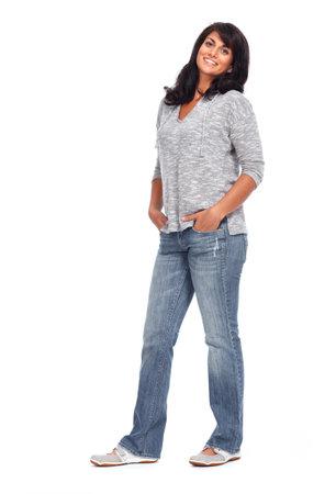 Mooie Aziatische vrouw die over een witte achtergrond. Stockfoto