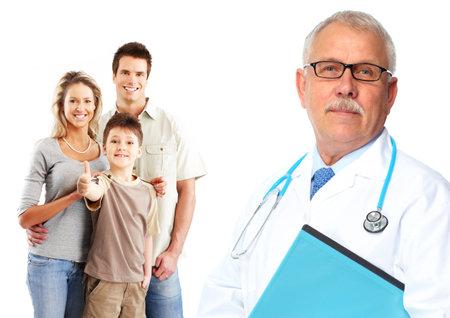 Medische huisarts en patiënten. Geïsoleerde witte achtergrond.