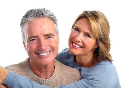 Happy smiling elderly couple isolated white background. Zdjęcie Seryjne