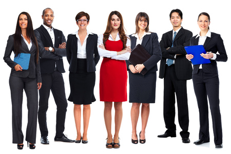 Business people team isolated over white background.