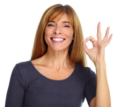 Mooie gelukkige vrouw geïsoleerd op witte achtergrond. Stockfoto - 48415657