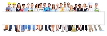 白い背景に分離されたビジネス人の労働者のグループ。