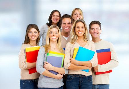 Groep student op blauwe achtergrond. Stockfoto