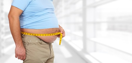 Senior man with big fat stomach. Obesity concept. Stock Photo