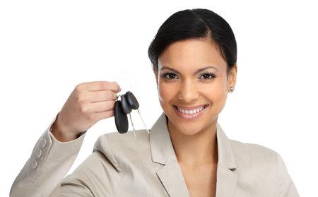車ディーラーの女性が白い背景に分離します。 写真素材 - 51262748